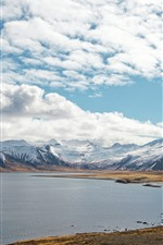 Preview iPhone wallpaper Snowy mountains, lake, clouds, nature landscape