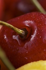 Preview iPhone wallpaper Some cherries, water droplets