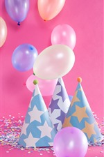 Preview iPhone wallpaper Some colorful balloons, hat, decoration, Birthday