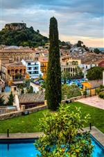 Spain, Catalonia, city, trees, houses, sea, pool