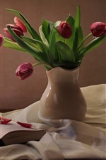 Preview iPhone wallpaper Still life, pink tulips, lamp, book, silk