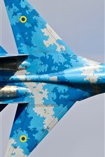 Preview iPhone wallpaper Su-27 fighter, blue, wings, top view