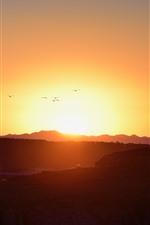 Preview iPhone wallpaper Sunrise, mountains, birds flight, sky