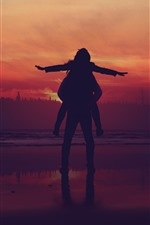 Preview iPhone wallpaper Sunset, couple, lovers, silhouettes, trees, river