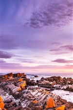 Sunset, rocks, sea, sky, clouds