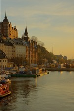 Sweden, Stockholm, city, river, houses, sunset