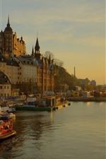 미리보기 iPhone 배경 화면 스웨덴, 스톡홀름, 도시, 강, 주택, 일몰