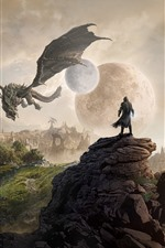 Preview iPhone wallpaper The Elder Scrolls, city, moon, planet, dragon