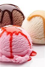 미리보기 iPhone 배경 화면 3 개의 아이스크림 공, 흰색 배경