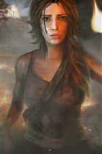 Preview iPhone wallpaper Tomb Raider, Lara, girl, fire, forest