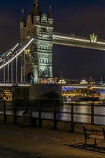 Preview iPhone wallpaper Tower Bridge, river, street, lamps, night, England, London