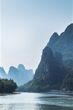 Travel to China, Lijiang, mountains, river, boats, beautiful nature landscape