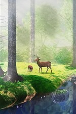 Preview iPhone wallpaper Trees, grass, river, deer, fog, sun rays