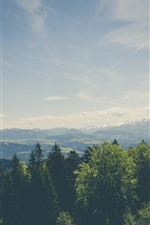 Preview iPhone wallpaper Trees, mountains, clouds, sky, nature landscape