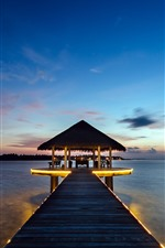 Tropical, resort, gazebo, pier, sea, night