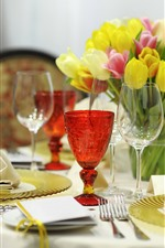 Tulips, table, glass cups, fork