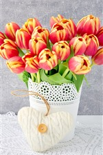 Preview iPhone wallpaper Tulips, vase, bouquet, white love heart