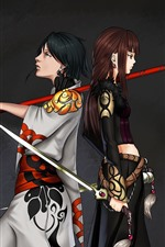 Preview iPhone wallpaper Two anime girls, sword, black background