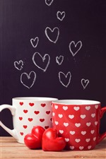 Two cups, love hearts, romantic