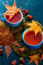 Two cups of tea, maple leaves, water, nuts