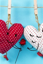 Preview iPhone wallpaper Two love hearts, clothespin, rose, romantic
