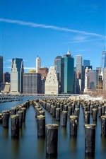 USA, New York, bay, skyscrapers, blue sky, city