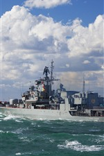 Preview iPhone wallpaper Ukraine, Navy, ship, sea, clouds