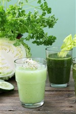Vegetables, cabbage, cucumbers, apple, broccoli, drinks