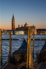 Preview iPhone wallpaper Venice, gondola, boats, river, houses, night, lamp, Italy