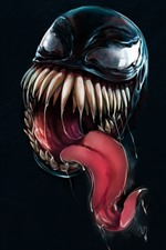 Preview iPhone wallpaper Venom, teeth, tongue, black background, art picture