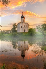 Preview iPhone wallpaper Vladimir, pond, temple, fog, dawn, sunshine, Russia