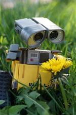 iPhone обои Wall-E, робот, желтый цветок