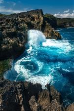 Preview iPhone wallpaper Water splash, rocks, sea, Nusa Penida