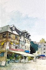 Preview iPhone wallpaper Watercolor painting, city, houses