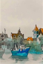 Preview iPhone wallpaper Watercolor painting, harbour, boats, houses