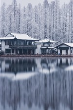 West Lake, Hangzhou, trees, buildings, snow, winter, China