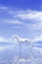 White unicorn, lake, clouds, art picture
