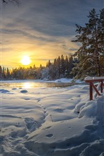 Winter, thick snow, bridge, lake, trees, sunset