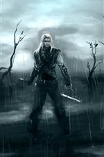 Preview iPhone wallpaper Witcher, rain, swamp, art picture