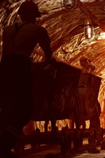 Preview iPhone wallpaper Worker, tunnel, mining, track