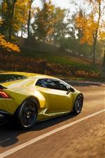 Preview iPhone wallpaper Yellow Lamborghini supercar speed, Forza Horizon