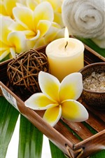 Preview iPhone wallpaper Yellow flowers, plumeria, candle, SPA