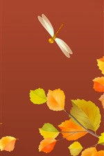 Preview iPhone wallpaper Yellow leaves, dragonfly, autumn, art picture