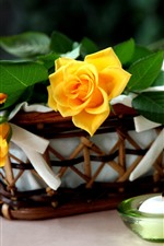 Preview iPhone wallpaper Yellow roses, candle