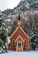 Yosemite National Park, house, trees, snow, winter, USA