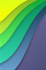 미리보기 iPhone 배경 화면 추상 곡선, 레이어, 녹색, 노란색