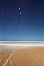 Praia, espuma, mar, estrelada