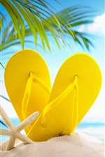 Beach, sands, yellow slippers, palm leaves, glare