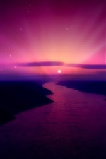 Preview iPhone wallpaper Beautiful sunrise, purple sky, moon, river, creative picture