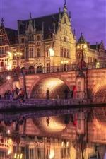 Belgium, Ghent, bridge, river, lights, houses, night